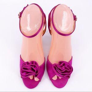 Kate Spade Rose Toe Satin Slingback Heels Size 9